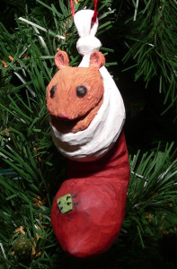 Mouse in Stocking carving